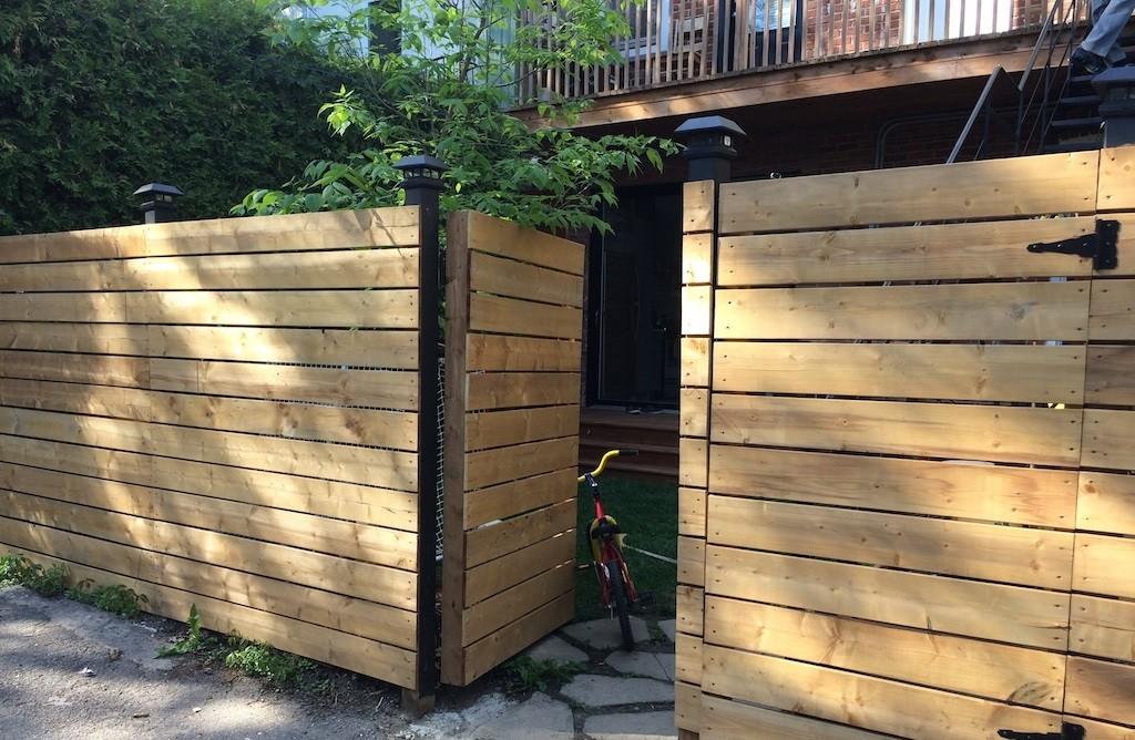 clôture en bois palissade